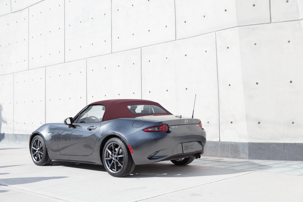 Beautiful MX 5 Miata Convertible Roadster Dark Cherry Red Soft Top Roof