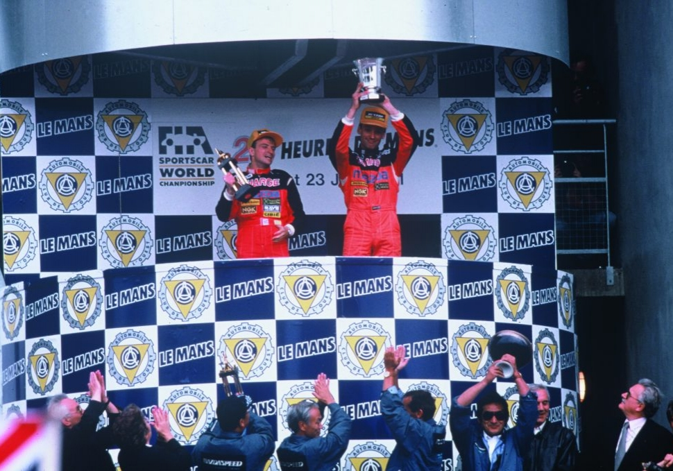 1991 Le Mans 24-hour 787b trophy podium